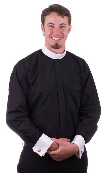 MDS Omega Premier Long Sleeve Neckband Clergy Shirt with White French Cuffs