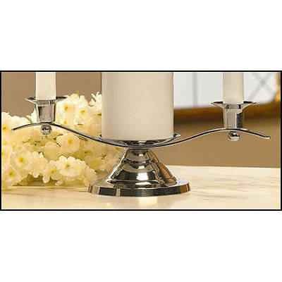Picture of Silver Nickel Curved Silhouette Unity Candle Holder