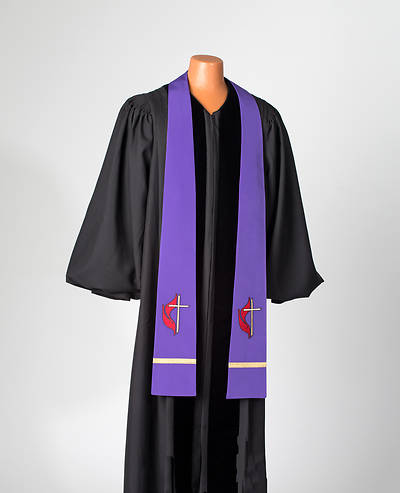 United Methodist Cross and Flame Tapered Stole - Purple