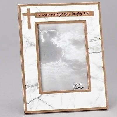 Picture of Beautifully Lived Cross Memorial White Marble Tone Resin Photo Frame
