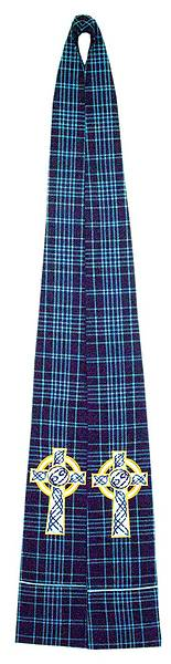 Stole Clergy Tartan Light Blue Cord with Celtic Cross