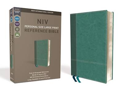 Picture of NIV, Personal Size Reference Bible, Large Print, Imitation Leather, Blue, Red Letter Edition, Comfort Print