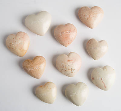 Picture of Flat Natural Stone Word Hearts (Pkg of 10)