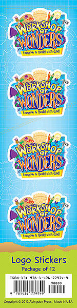 Vacation Bible School (VBS) 2014 Workshop of Wonders Logo Stickers (Pkg of 12)
