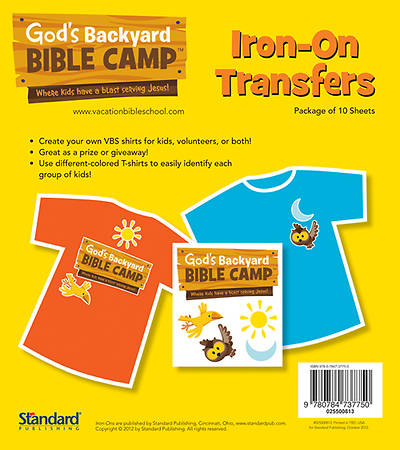 Standard Vacation Bible School 2013 Gods Backyard Bible Camp Iron Ons (pkg 10)