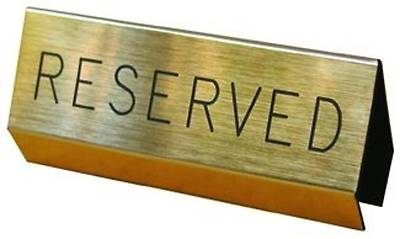 Picture of Brushed Gold Reserved Pew Sign