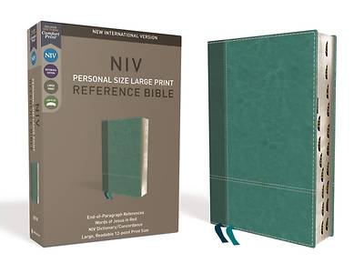 NIV, Personal Size Reference Bible, Large Print, Imitation Leather, Blue, Indexed, Red Letter Edition, Comfort Print