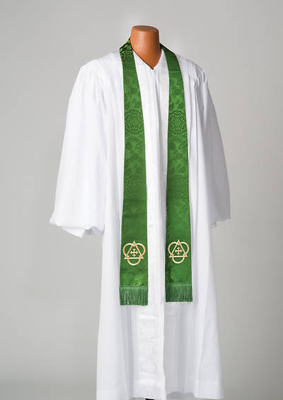 Picture of Silk Green Cross and Triangle Stole