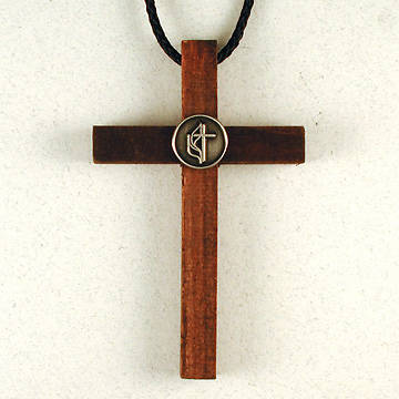 Wooden Cross with Pewter United Methodist Logo