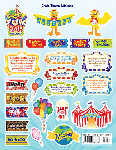 Vacation Bible School 2013 Everywhere Fun Fair Pkg of 12  Craft Theme Stickers VBS