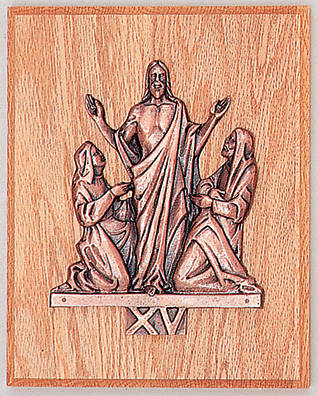 The Resurrection Oak Plaque Antique Bronze Figures