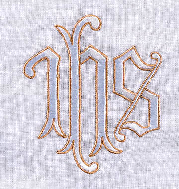 Communion Table Cover with IHS Embroidery Outlined in Gold Pure Linen 50 x 86