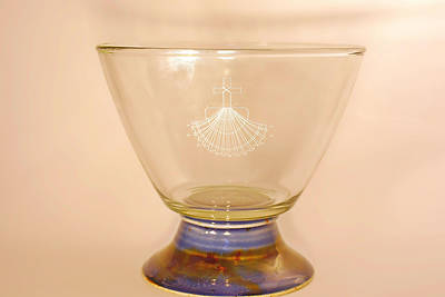 Picture of Baptismal Bowl on Pedestal Earthenware Glass Blue