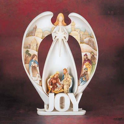 Picture of Lighted Joy Angel Figurine with Holy Family