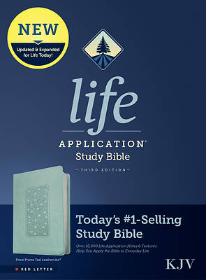 Picture of KJV Life Application Study Bible, Third Edition (Red Letter, Leatherlike, Floral Frame Teal)