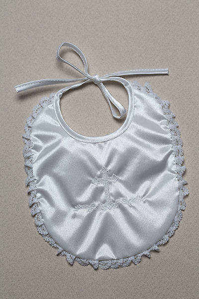 Baptism Bib with Embossed Cross and Lace Trim