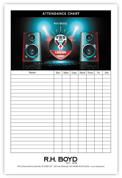 Picture of Vacation Bible School VBS 2021 A New Song The Message in Our Music Attendance Chart
