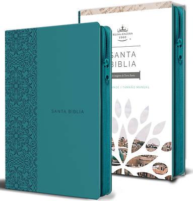 Picture of Biblia Reina Valera 1960 Letra Grande. Símil Piel Aguamarina, Cremallera, Tamaño Manual/Spanish Bible Rvr 1960. Handy Size, Large Print, Leathersoft A