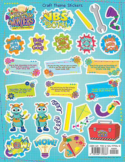 Vacation Bible School (VBS) 2014 Workshop of Wonders Craft Theme Stickers (Pkg of 12)