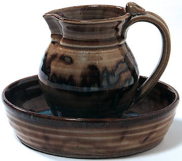 Small Brown Foot-washing Pitcher and Basin