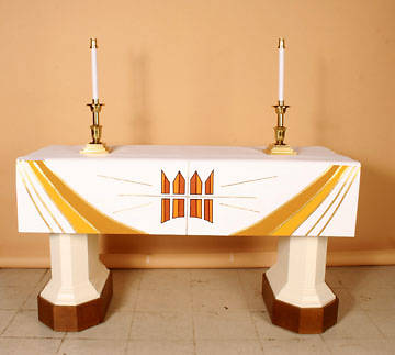Ascension Series White Altar Frontal with Crown, Cross & Rays