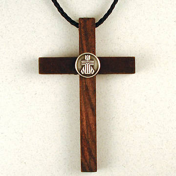 Wooden Cross with Pewter Presbyterian Church USA Logo