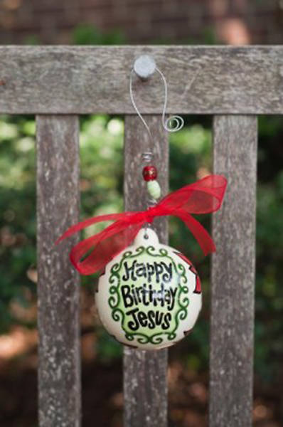 Happy Birthday Jesus Poinsettias Ball Ornament