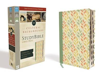 NIV, Cultural Backgrounds Study Bible, Large Print, Imitation Leather, Green, Indexed, Red Letter Edition