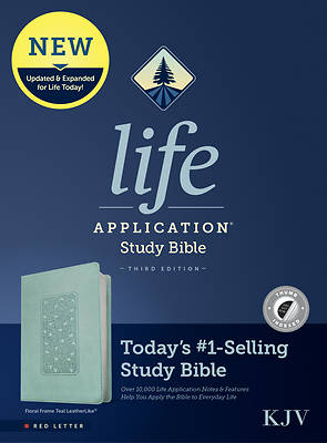 Picture of KJV Life Application Study Bible, Third Edition (Red Letter, Leatherlike, Floral Frame Teal, Indexed)
