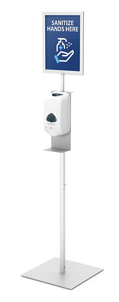 Picture of Hand Sanitizer Dispenser Floor Stand with Small Sign Frame
