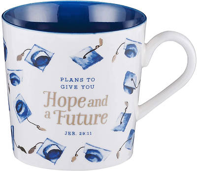 Picture of Hope and a Future Navy Blue/White Graduation Cap Mug Jeremiah 29:11