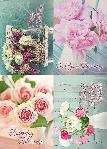 Fragrant Bouquets Birthday Boxed Cards