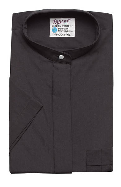 """Picture of Reliant Short Sleeve Clergy Shirt with Neckband Collar Black - 16"""""""