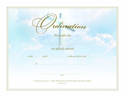 Certificate of Ordination Gold Foil Embossed Package of 6