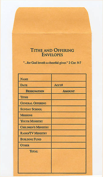 Picture of Tithe and Offering Envelope, Goldenrod, Package of 100