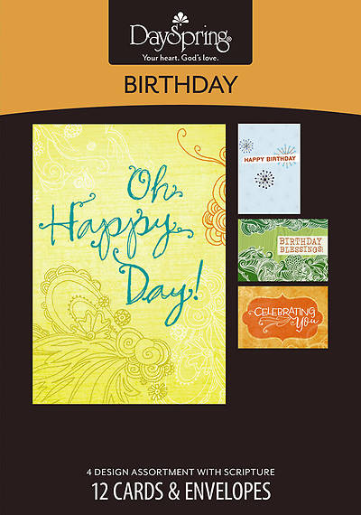Fresh Patterns - Birthday Boxed Cards - Box of 12