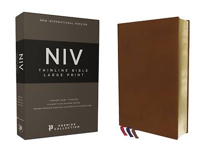 Picture of Niv, Thinline Bible, Large Print, Premium Goatskin Leather, Brown, Premier Collection, Art Gilded Edges, Comfort Print