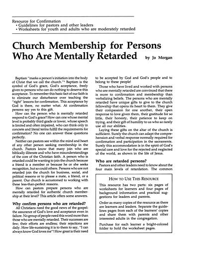 Church Membership for Persons Who are Mentally Retarded download