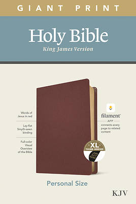 Picture of KJV Personal Size Giant Print Bible, Filament Enabled Edition (Genuine Leather, Burgundy, Indexed)