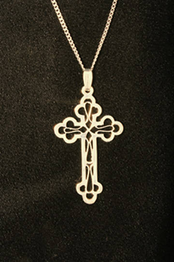 Clergy Cross, Gold Plated with Open Filigree Design