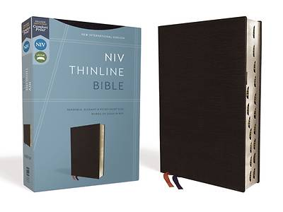 NIV, Thinline Bible, Bonded Leather, Black, Indexed, Red Letter Edition