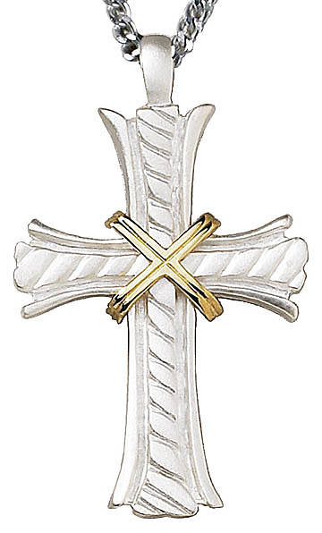 "Picture of 3"" Matte Silver Plate Clergy Cross with Gold Plate Accent"