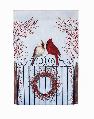 Winter Birds and Berries Garden Satin Flag