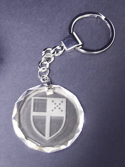 CRYSTAL KEY CHAIN/ETCHED SHIEL