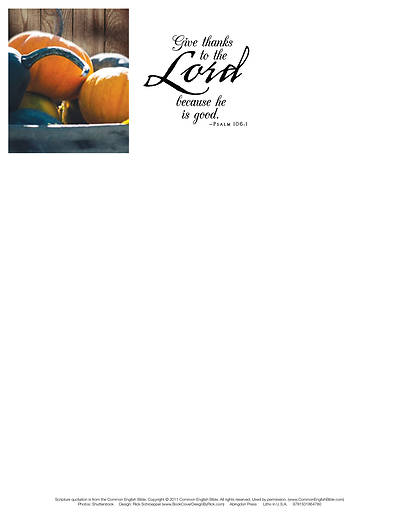 Picture of Give Thanks Thanksgiving Letterhead (Pkg of 50)