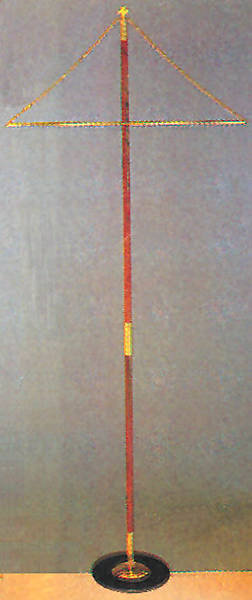 Banner Stand; Wooden shaft with steel and brass base