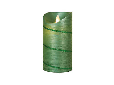 Marvelous Lights Green Flameless Candle W/Timer 5.75