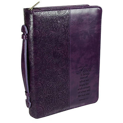 Picture of Faith Leather Medium Purple Bible Cover