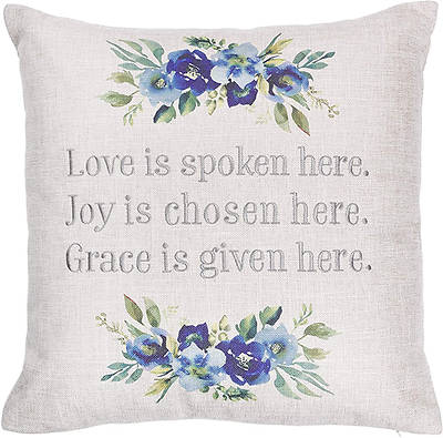 Picture of Love Decorative Throw Pillow Love Joy Grace Embroidered, Blue Floral, 18 x 18