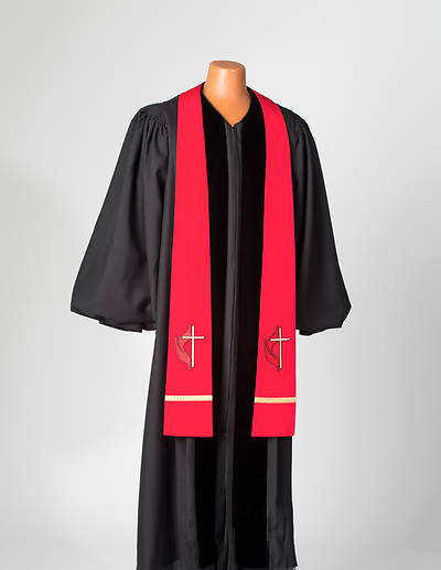 Red United Methodist Liberty With Gold Braid Stole